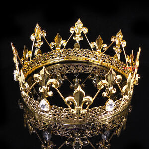 Men-039-s-Imperial-Medieval-Fleur-De-Lis-Gold-King-Crown-8cm-High-18cm-Diameter