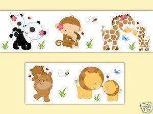Safari Animal Wallpaper Border Wall Decals Baby Nursery Jungle Woodland Stickers
