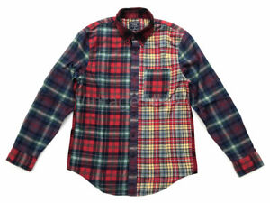 Abercrombie-Fitch-AF-Jeans-Mens-M-Red-Multi-Patchwork-Check-Plaid-Flannel-Shirt