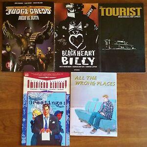 Lot-of-5-Graphic-Novels-Judge-Dredd-Scars-amp-Stripes-Black-Heart-Billy-amp-More
