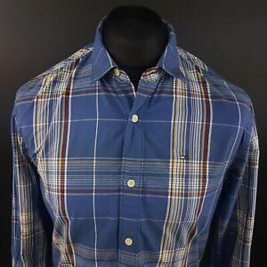 Tommy-Hilfiger-Mens-Shirt-MEDIUM-Long-Sleeve-Blue-Regular-Fit-Check-Cotton