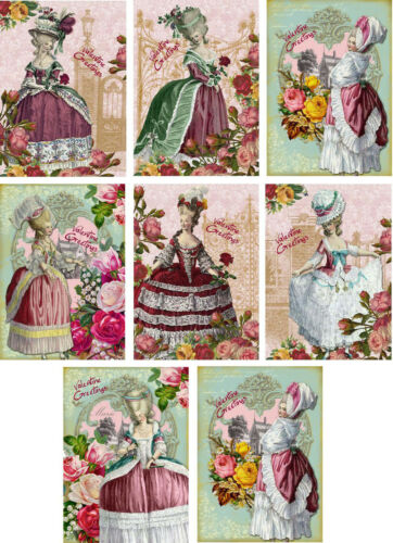 Vintage Marie Antoinette Valentine small note cards tags set 8 with envelopes