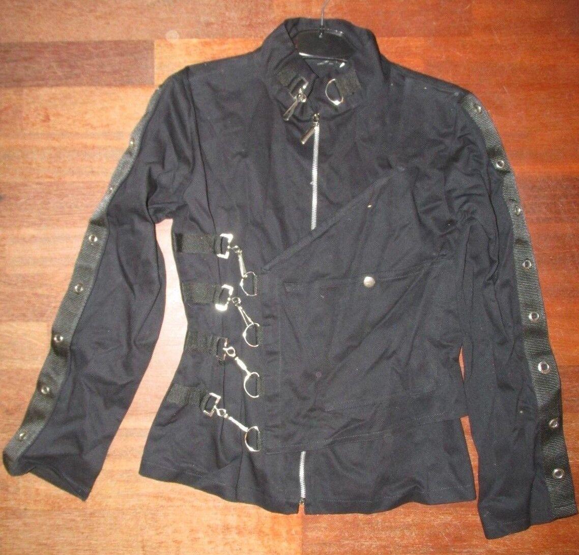 Hwt Femme Bn Motard Veste Noir Boucle Coton Gothique wfxTIzqR
