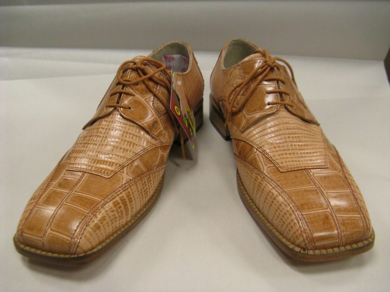 Men's Liberty Rust Color Croco Lizard Print Leather Dress Shoes 463 901 $99