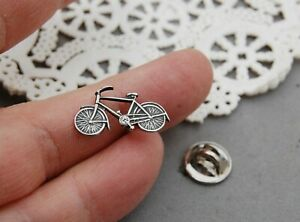 "Bicycle Bike Tie Tack Lapel Hat Pin 7/8"" Sterling Silver Biker Rider"