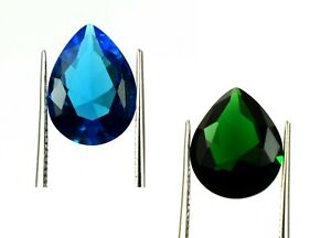 Holiday Offer Natural Pear 6.35 Ct Emerald & Blue Topaz Gemstone Pair Certified