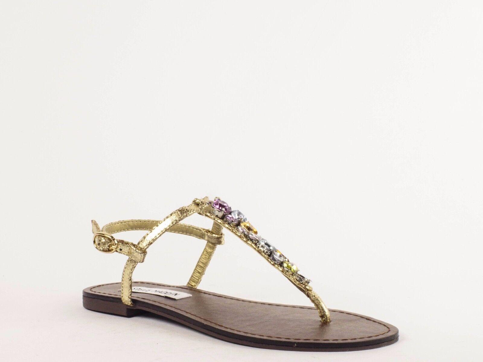 Steve Madden Gems Flat Sandal Gold Multi Jewel T-Strap Sandals US Taglia 6.5 M
