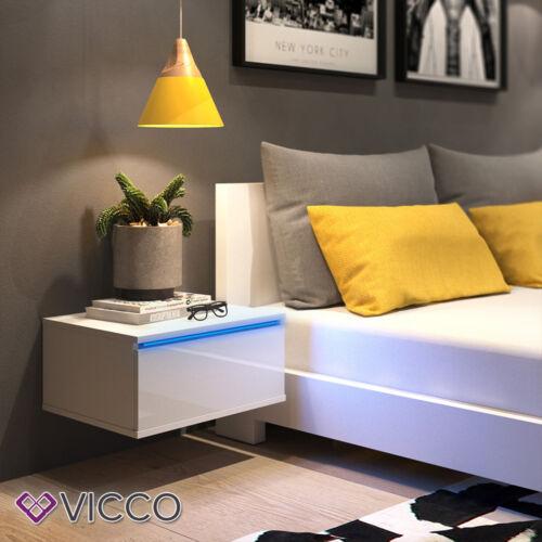 VICCO Nachttisch PIERRE LED Nachtschrank Kommode Schlafzimmer Wandhängend Set