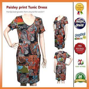 SundayMarkePaisley-print-Vintage-Stretchable-Casual-Dress-Tunic-Size-8-10-12-14