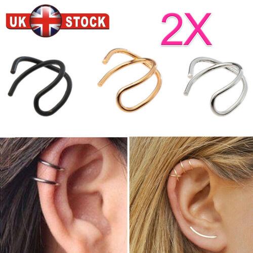 2X Creativity Cross Ear Clip U-shape Crossed  earrings Non Piercing Stud Hoops
