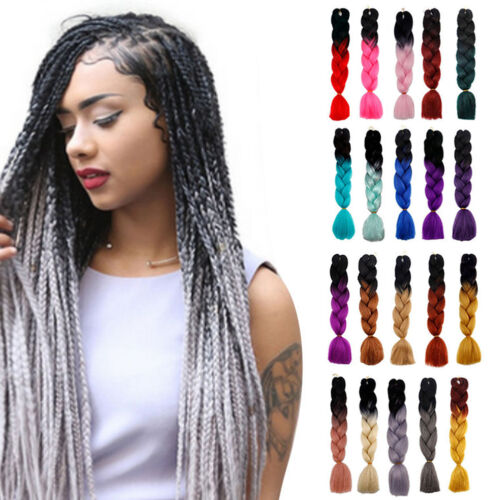 Girls-Punk-Ombre-Dip-Dye-Kanekalon-Jumbo-Braid-Hair-Extensions-Straight-Hair-New
