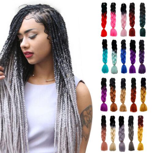 Girls-Punk-Ombre-Dip-Dye-Kanekalon-Jumbo-Braid-Hair-Extensions-Straight-Hair-New