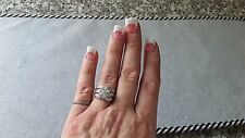Sterling Silver QVC Diamonique DQ CZ Flower Cluster CZ Ring - Size 7