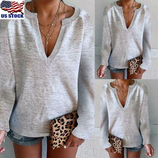 Womens V Neck Long Sleeve Sweater Knitwear Casual Pullover Jumper Tops Blouse US