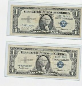 STAR NOTE 1957 SILVER CERTIFICATE $1 Good details sold as each circulated