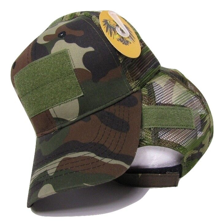 Buy Woodland Camo Mesh Operator Operators Tactical Cap Hat Patch ... a45d7537a6c