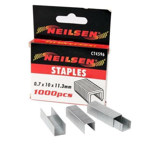 1000 piezas Alambre Plano Grapas 10 mm de la pierna Longitud 0.7 Mm Calibrador De Alambre-Corona de 11.3 mm