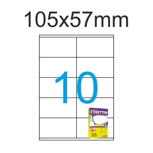 Etiketten 105x57mm 400 Blatt A4 4000 Aufkleber Luma weiss zum bedrucken 105x57
