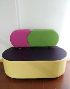 Divano 2 posti da ufficio casa da arredo 4 colori prodotto italiano giallo verde