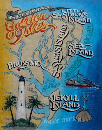 Golden Isles of Georgia Coast Print beach art decor print vintage  style jekyll