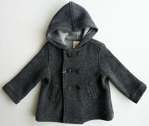 1b356699e ZARA Mini Baby Boy Girl GREY Wool Knitted Hooded Cardigan Jacket 6 ...