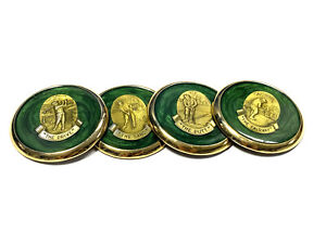 Vintage-Set-4-Golf-Coasters-1970s-Lacquer-amp-Brass-Gold-Green-Country-Club-Decor