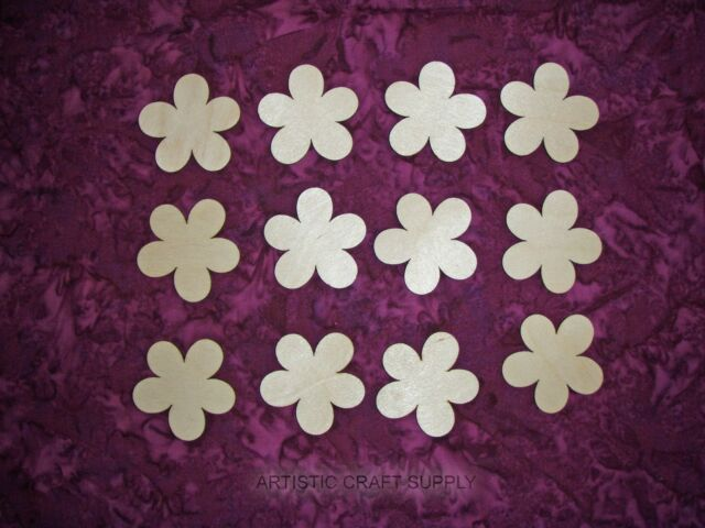 "Flower Shape Unfinished Wood Craft Cutouts 12PCS  FL#001  2"" Inch"