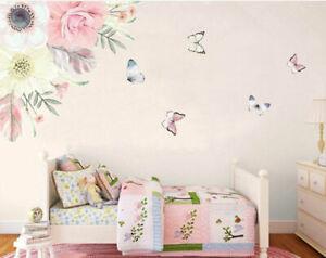 Flower Blossom Branch Butterflies Wall Decal Baby Nursery Decor Sticker Art Gift