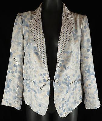 Paola Frani Jacket 6 US Designer Reversible Blue Silk Floral Polka Dot 42 Italy