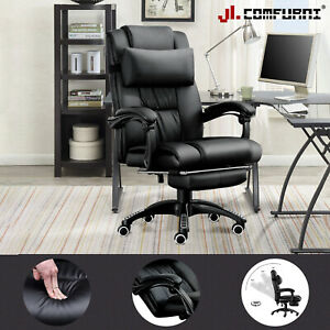 JL Comfurni Leather Gaming Chair Recliner Office Home Computer Desk Chair Swivel
