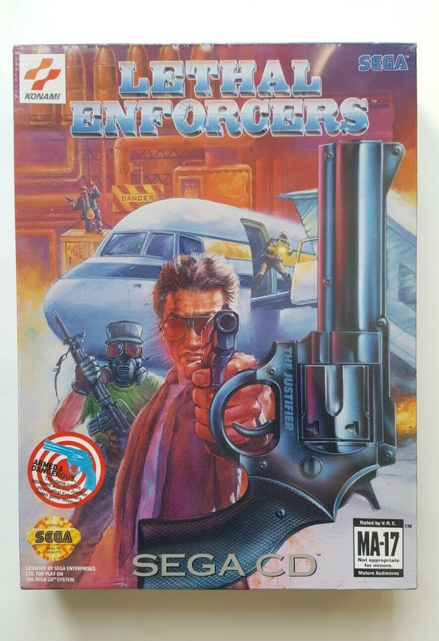 FACTORY SEALED Konami Lethal Enforcers Big Box w/ Justifier, Sega-CD - NEW MINT!