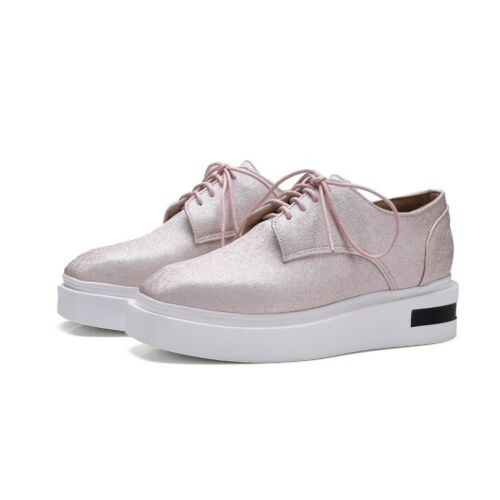 Fashion Women Lace Up Square Toe Platform Mid Heels Wedge Creeper Oxfords Shoes