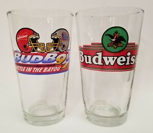 Bud-Bowl-Battle-In-The-Bayou-97-Clear-Glass-Cup-Budweiser-Eagle-Logo-Cup