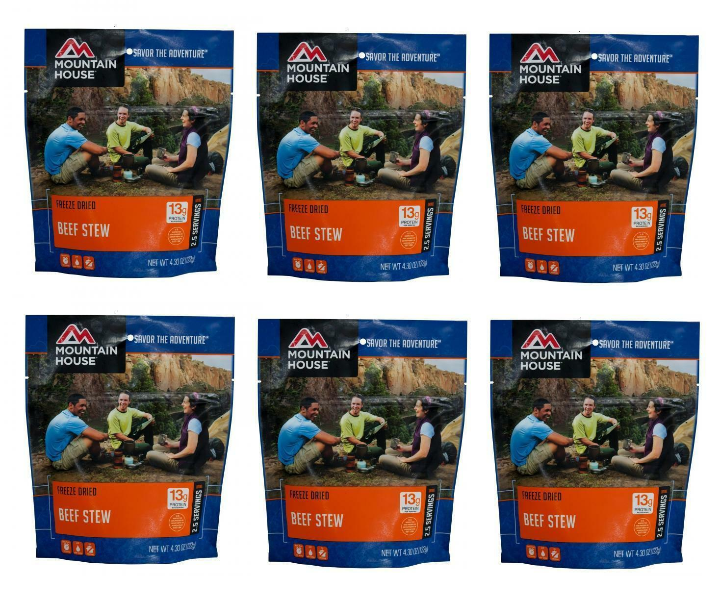 6 - Mountain House Freeze Dried Food Pouches - Beef Stew - Fresh