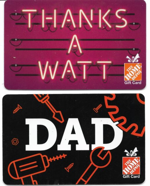 gift card HOME DEPOT 🔧🛠️⚙ GIFT CARDS Canada USA Collectible Dad Thanks a Watt