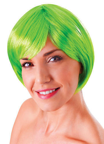 Ladies Short Neon Green Bob Flick Wig /& Fringe 80/'s Disco China Doll Fancy Dress