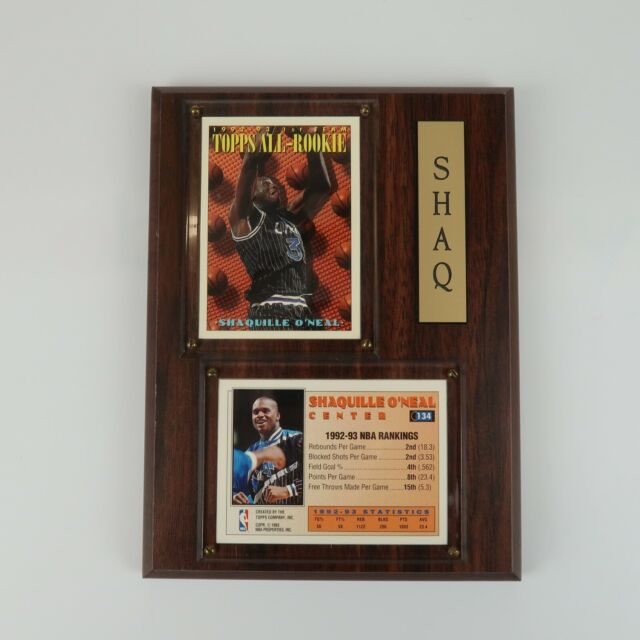 Vintage 90s Sports Plaques Shaquille O'Neal 1992-1993 Topps All-Rookie