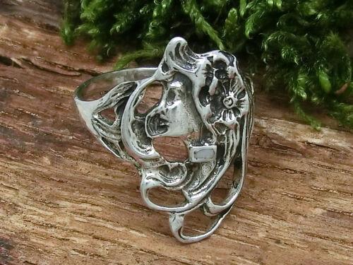 Jugendstil 925 Sterling Silber Ring Dame Mädchen Damenring Vintage Gothic