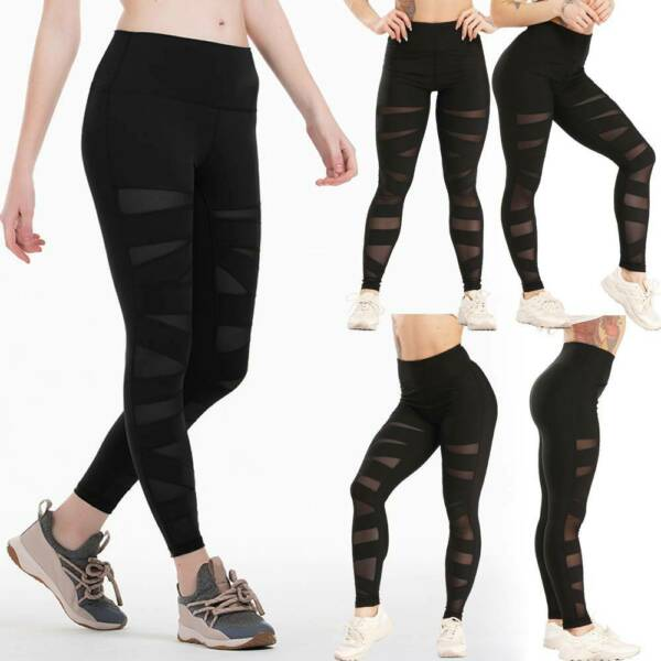 Damen Yogahose Mesh Push Up Legging Fitness Hosen Hohe Taille Hose Laufhosen M