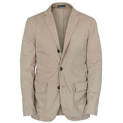 POLO RALPH LAUREN men's casual cotton tan kahki sportcoat blazer jacket 40/50 R