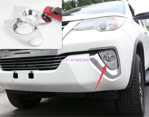For Toyota Fortuner SUV 2018 Chrome Exterior Front Fog light lamp Cover Trim