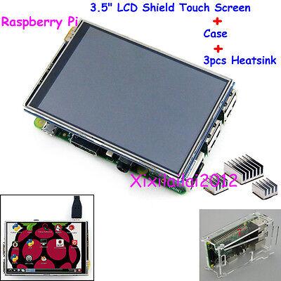 "New 3.5"" TFT LCD Shield Touch Screen Display + Case + Heatsink For Raspberry Pi"
