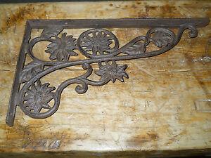 6 Cast Iron Antique Style SUNFLOWER Brackets, Garden Braces Shelf Bracket