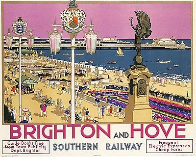 BRIGHTON AND HOVE Vintage  Railway/Travel Poster A1,A2,A3,A4 Sizes