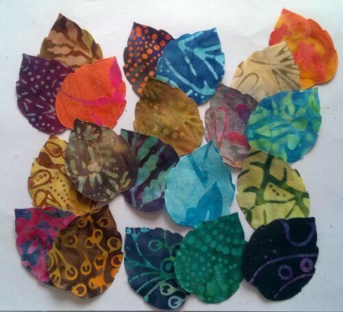 Batik Leaves fabric scraps Pack remnants patchwork bundles 100/% cotton Set 3