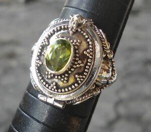 925-Sterling-Silver-LR119-Bali-Poison-Wish-Locket-Ring-Oval-amp-Peridot-Size-10