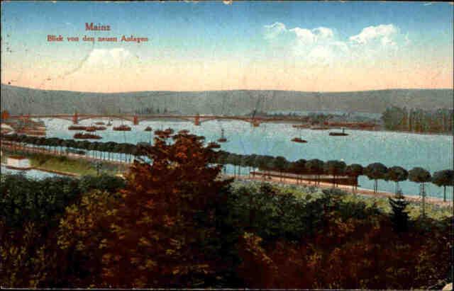 Feldpostkarte Mainz Rhein Panorama 1918 Feldpost 1. Weltkrieg n/ Forst (Lausitz)