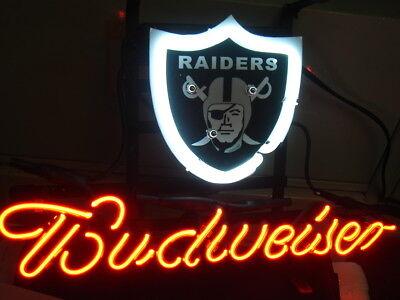 "Budweiser Collectibles Obedient Budweiser Bud Light Oakland Car Beer Jersey Cap Neon Sign 13""x Raiders Football Non-Ironing"