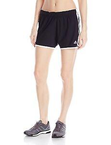 adidas Women's Climalite Ultimate Woven 3 Stripe Shorts Black Running Short S-2X