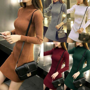 Women-Fall-Winter-Slim-Sweater-Dress-Bodycon-Turtleneck-Knitted-Jumper-Knitw-NP
